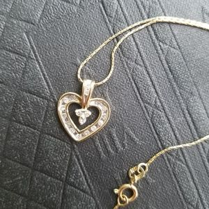 Jewelry - 14K Gold Heart Pendant & Necklace